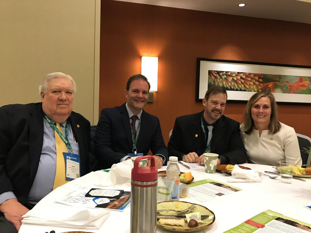 From right to left: out-going AAEP president Margo Macpherson, AAEP vice president David Frisbie, WEVA president Vince Gerber, and WEVA past president Gary Norwood